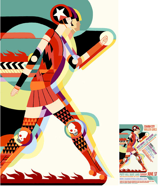 Charm City Roller Girls poster illustration by artist Kali Ciesemier.